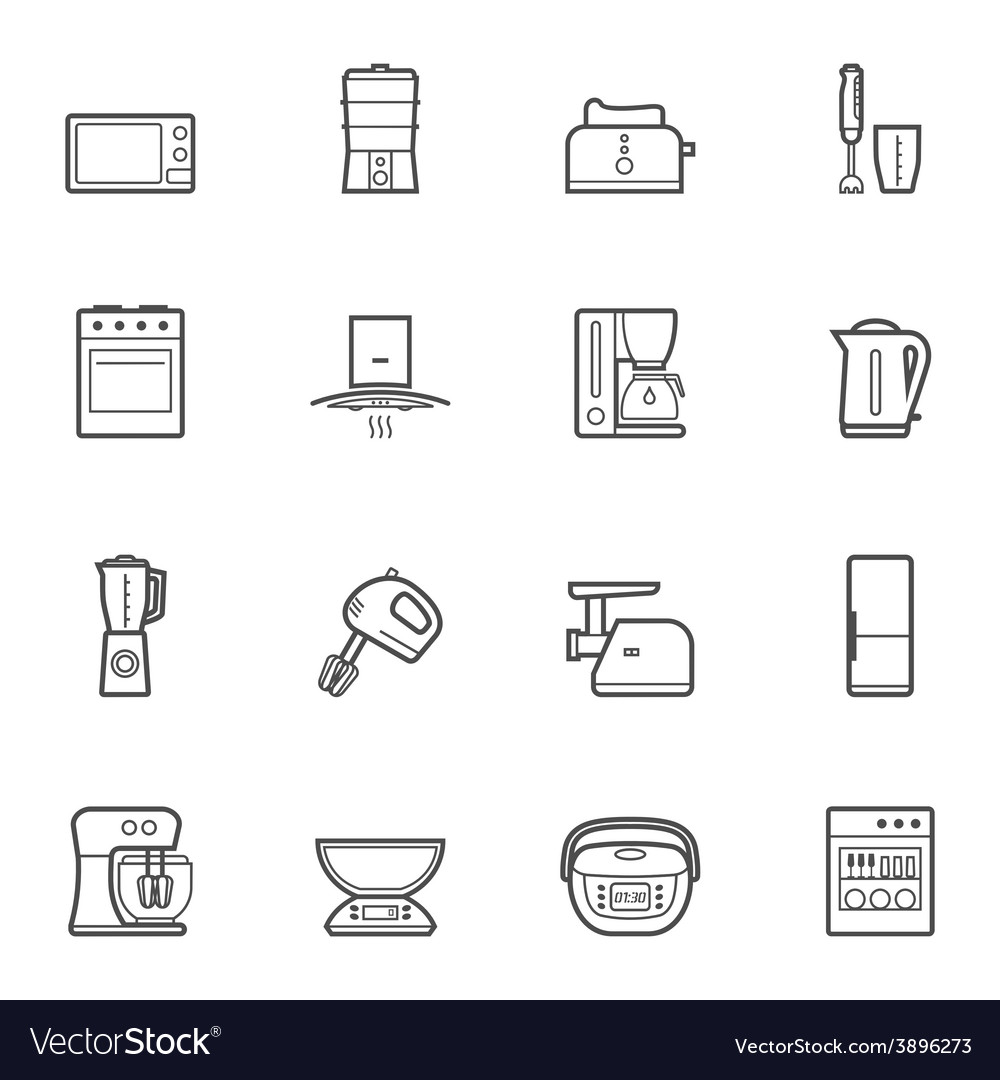 Kitchen appliances line style icon set vector | Price: 1 Credit (USD $1)