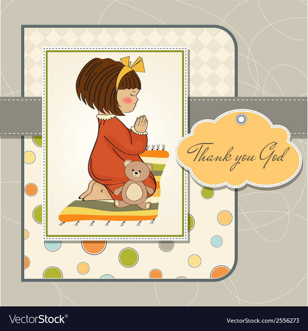 Little girl praying vector | Price: 1 Credit (USD $1)