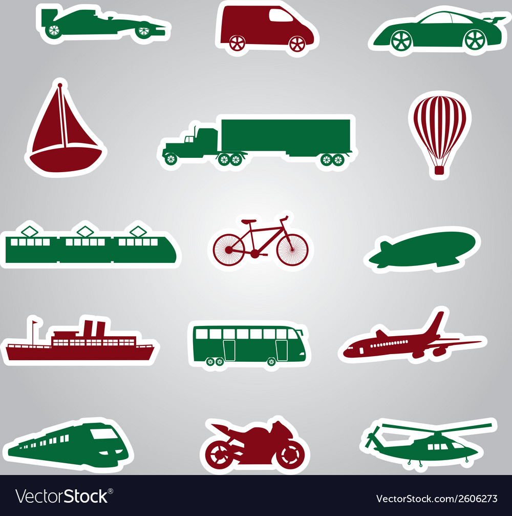 Means of transport icon stickers eps10 vector | Price: 1 Credit (USD $1)