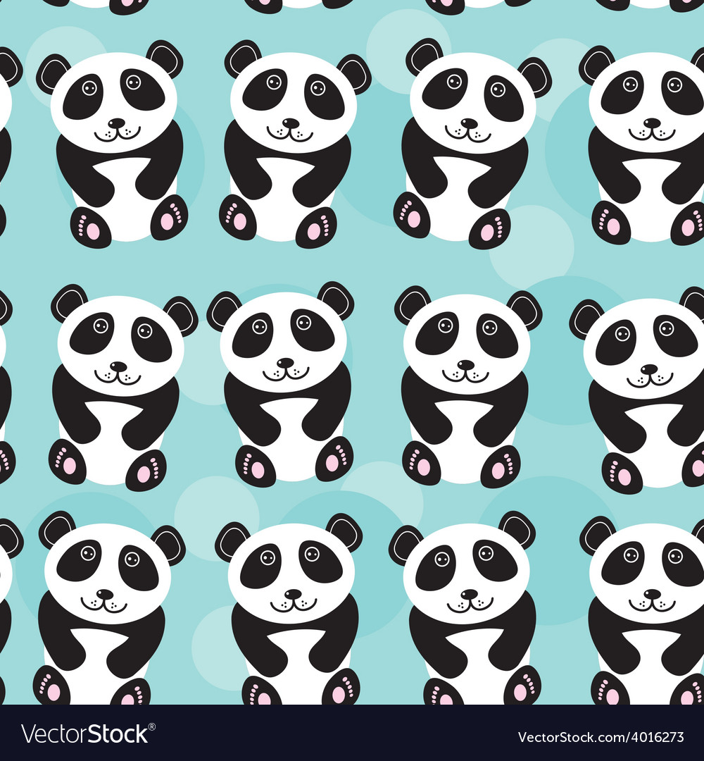 Panda seamless pattern with funny cute animal on a vector | Price: 1 Credit (USD $1)