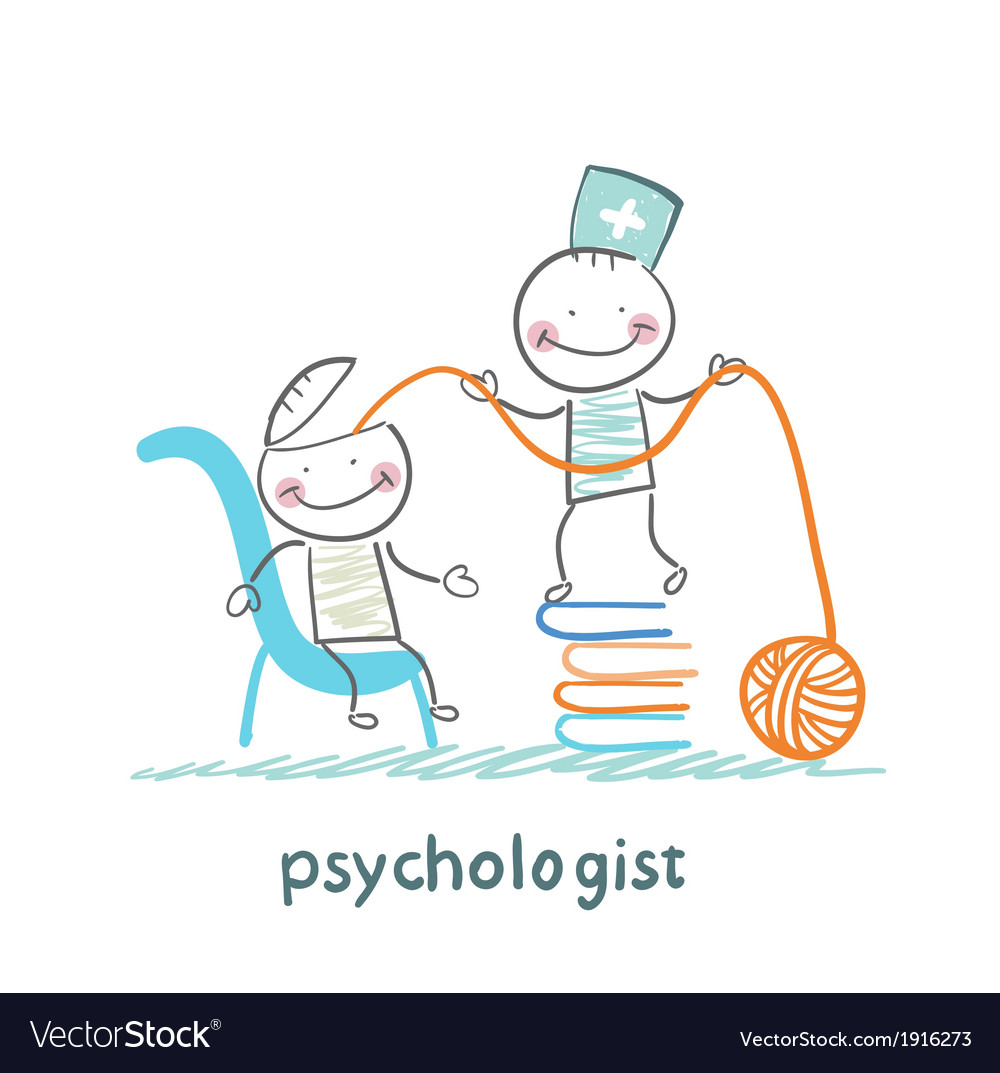 Psychologist is on a stack of books and pulls the vector | Price: 1 Credit (USD $1)