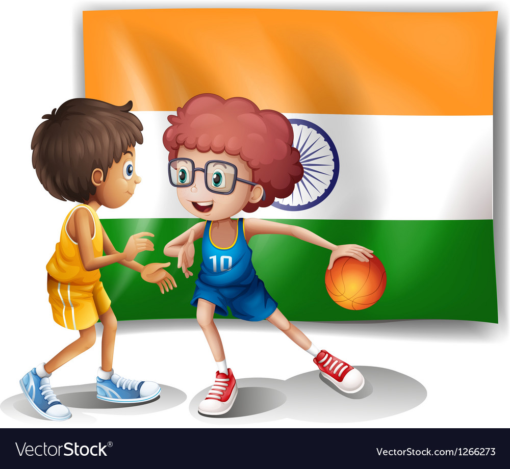 Two boys playing basketball in front of the indian vector | Price: 1 Credit (USD $1)