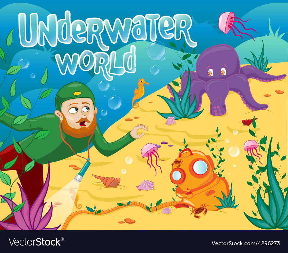 Underwater world with different sea animals vector | Price: 1 Credit (USD $1)