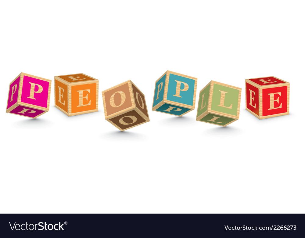 Word people written with alphabet blocks vector | Price: 1 Credit (USD $1)