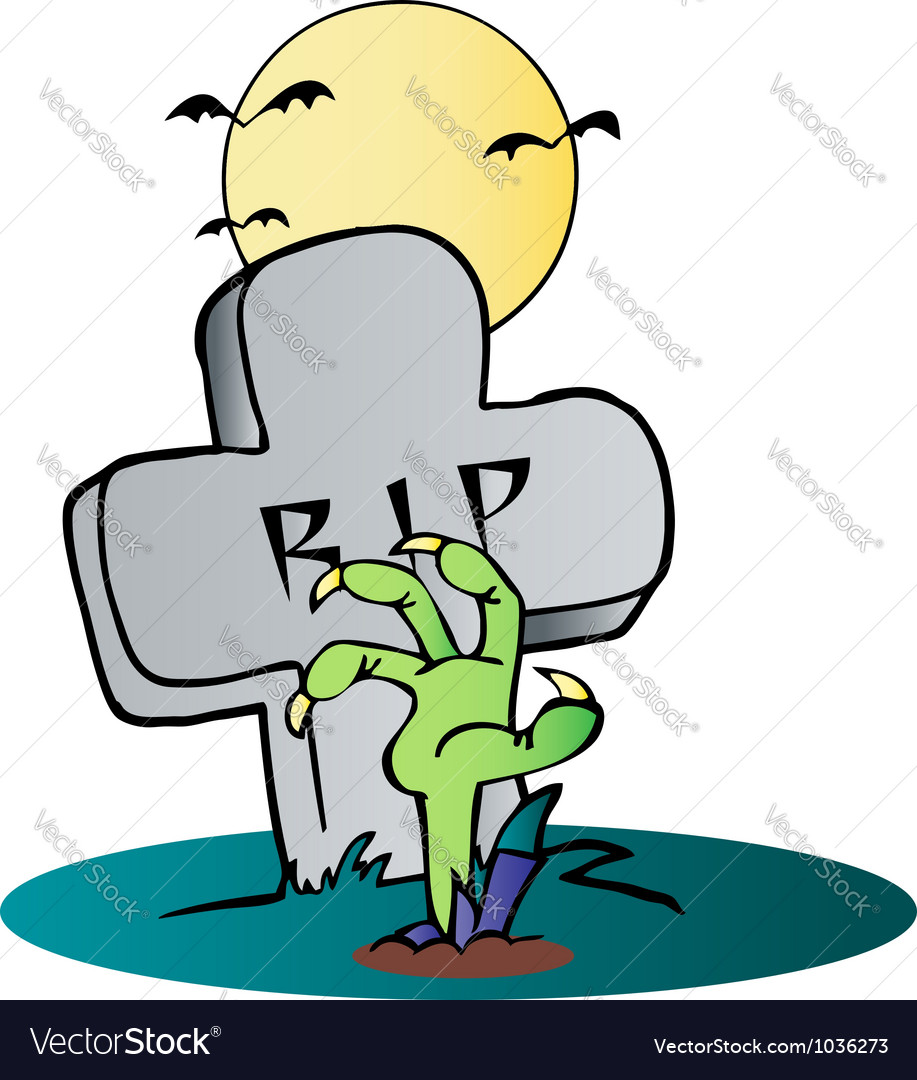 Zombie hand reaching up from the earth vector | Price: 1 Credit (USD $1)