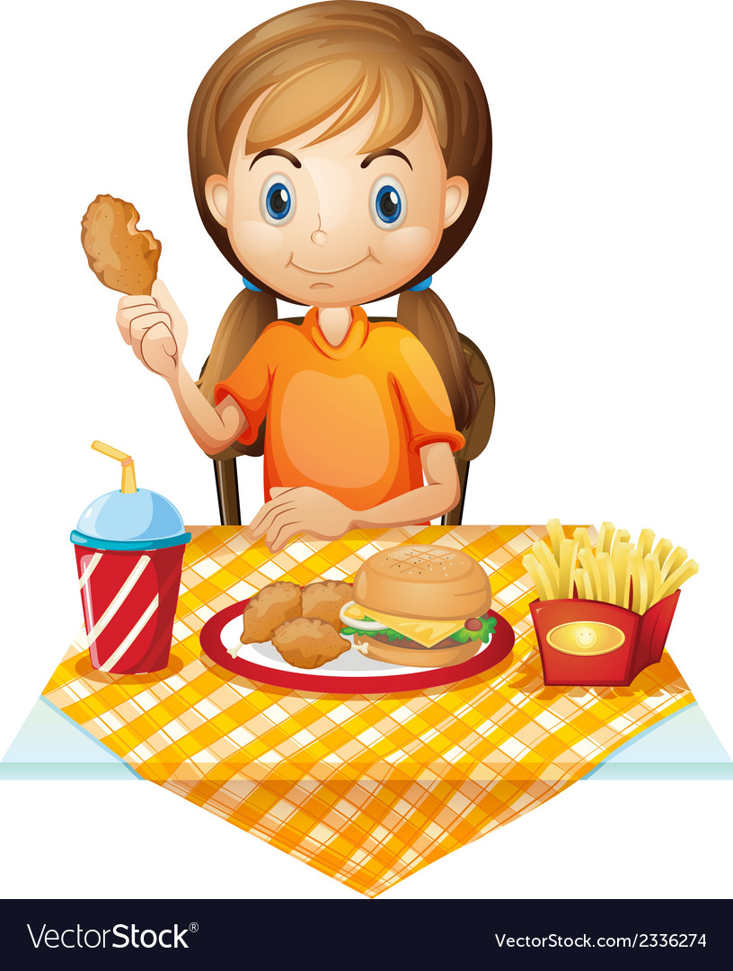 A pretty girl eating at the fastfood restaurant vector | Price: 1 Credit (USD $1)