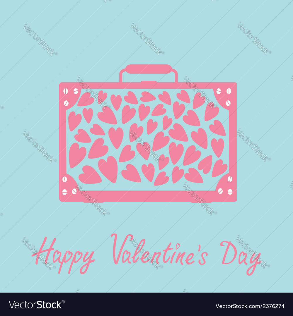 Big suitcase with pink hearts happy valentines day vector | Price: 1 Credit (USD $1)