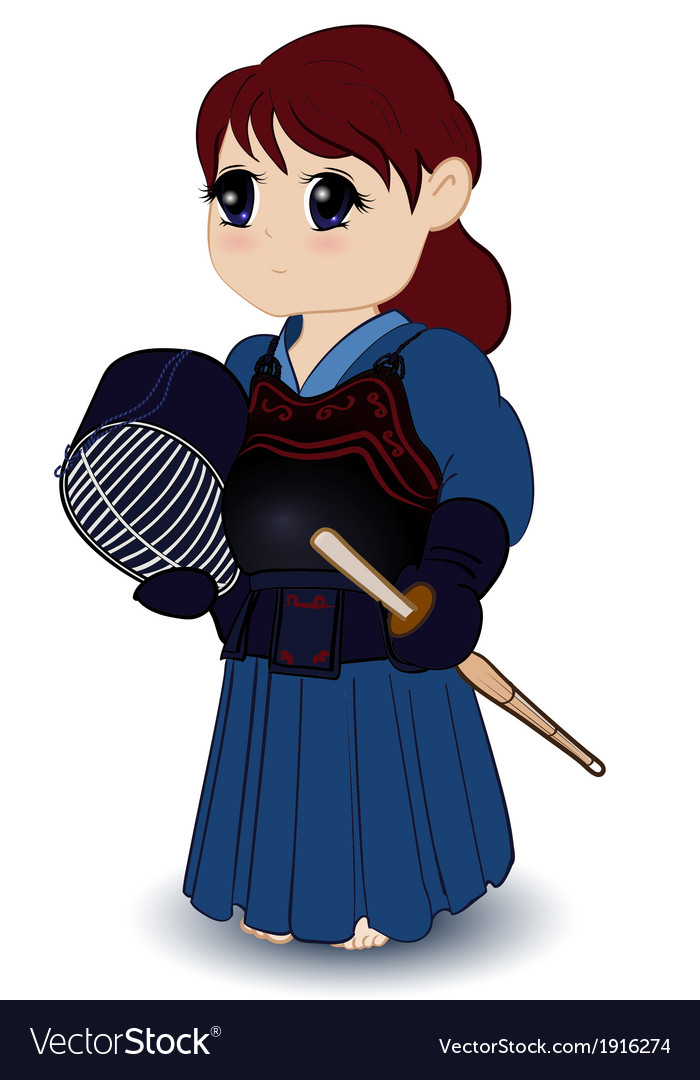 Chibi female kendoka vector | Price: 1 Credit (USD $1)