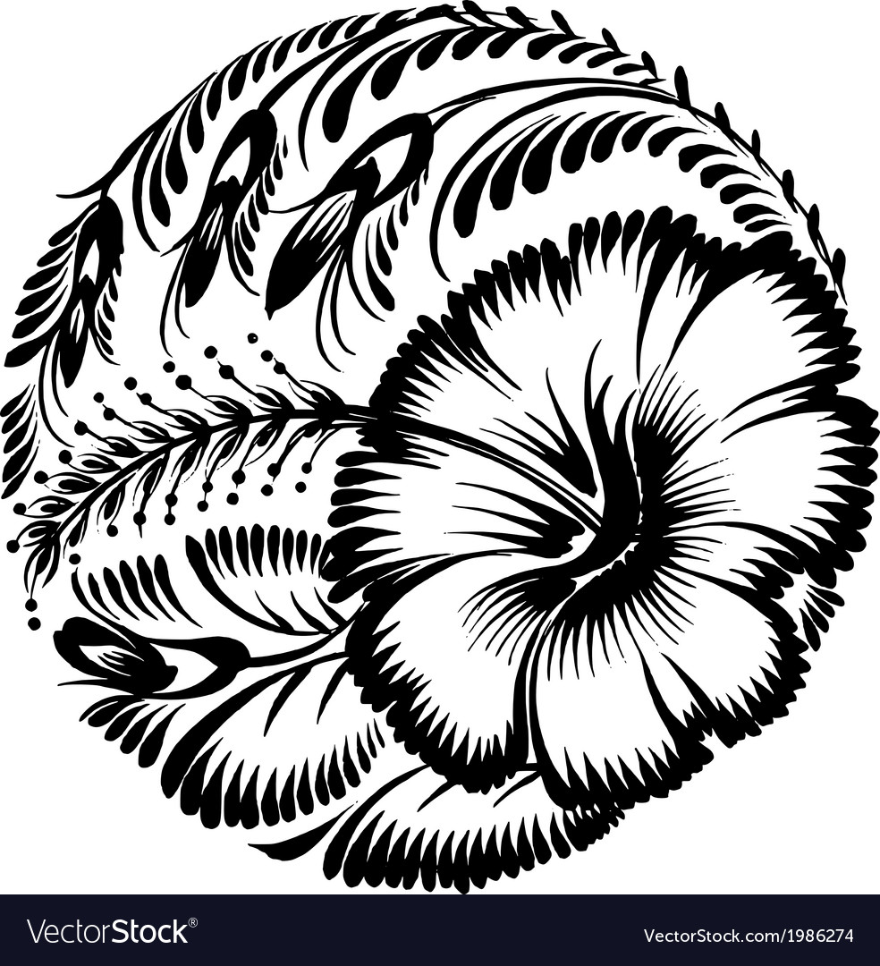 Decorative silhouette hibiscus vector | Price: 1 Credit (USD $1)