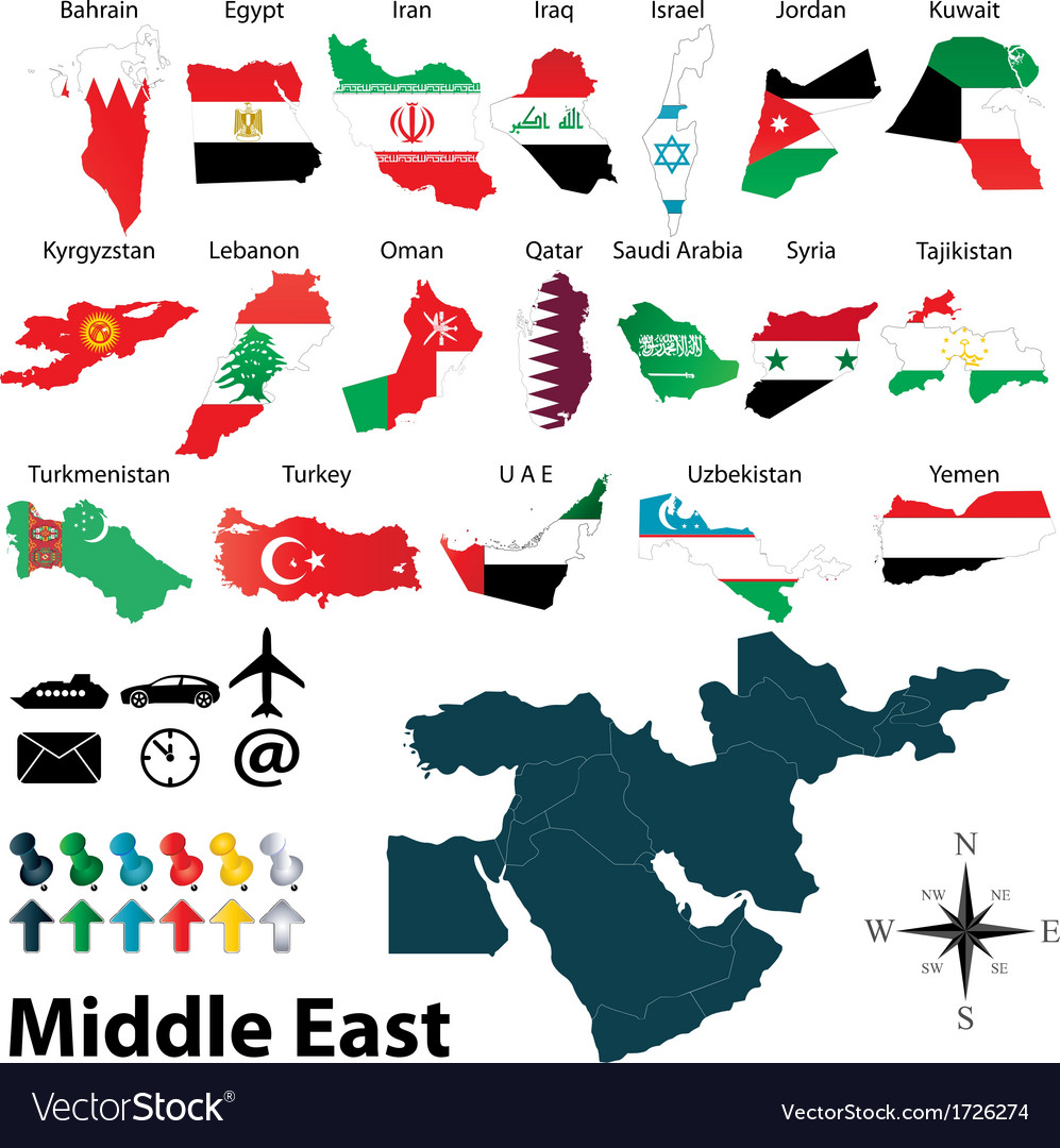 Maps with flags of middle east vector | Price: 1 Credit (USD $1)