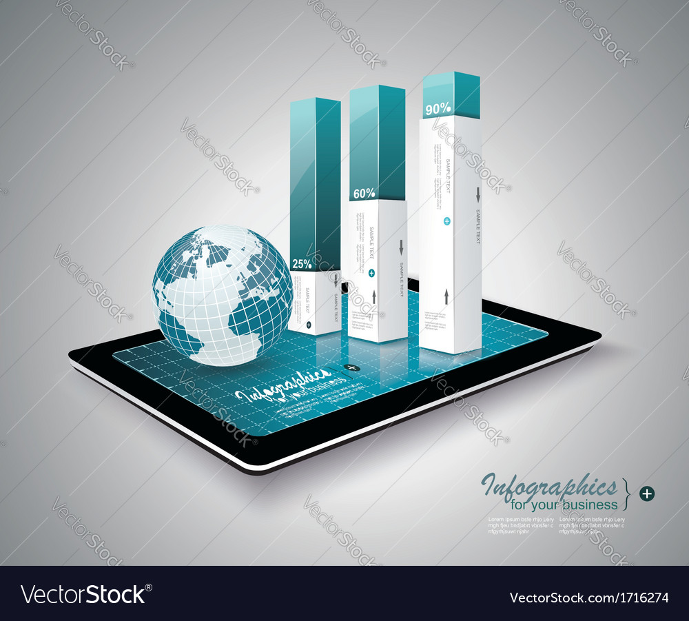 Modern infographic on tablet pc vector | Price: 1 Credit (USD $1)