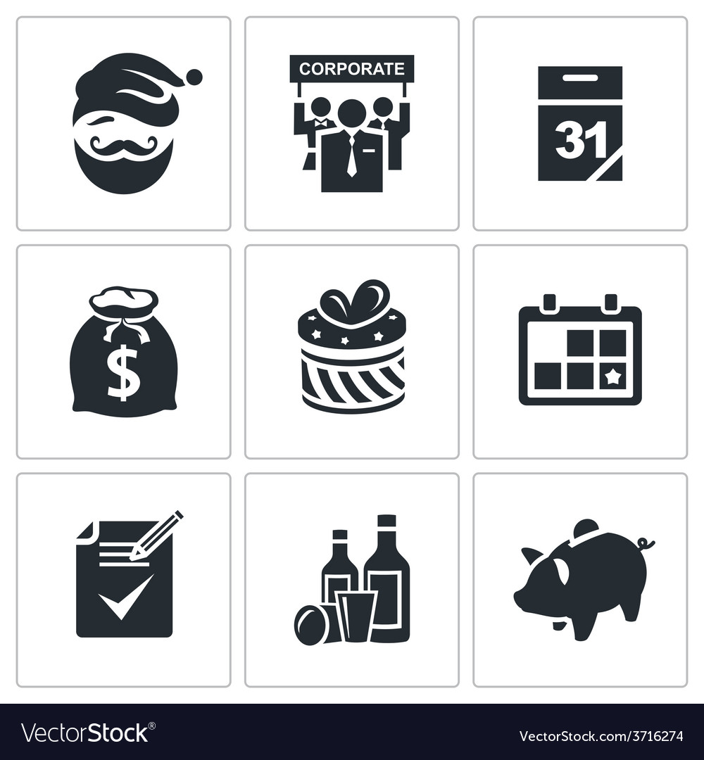 New year corporate icons set vector   Price: 1 Credit (USD $1)