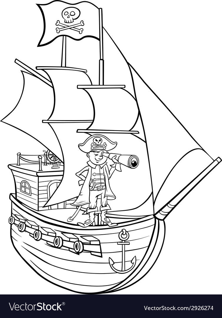 Pirate on ship cartoon coloring page vector | Price: 1 Credit (USD $1)