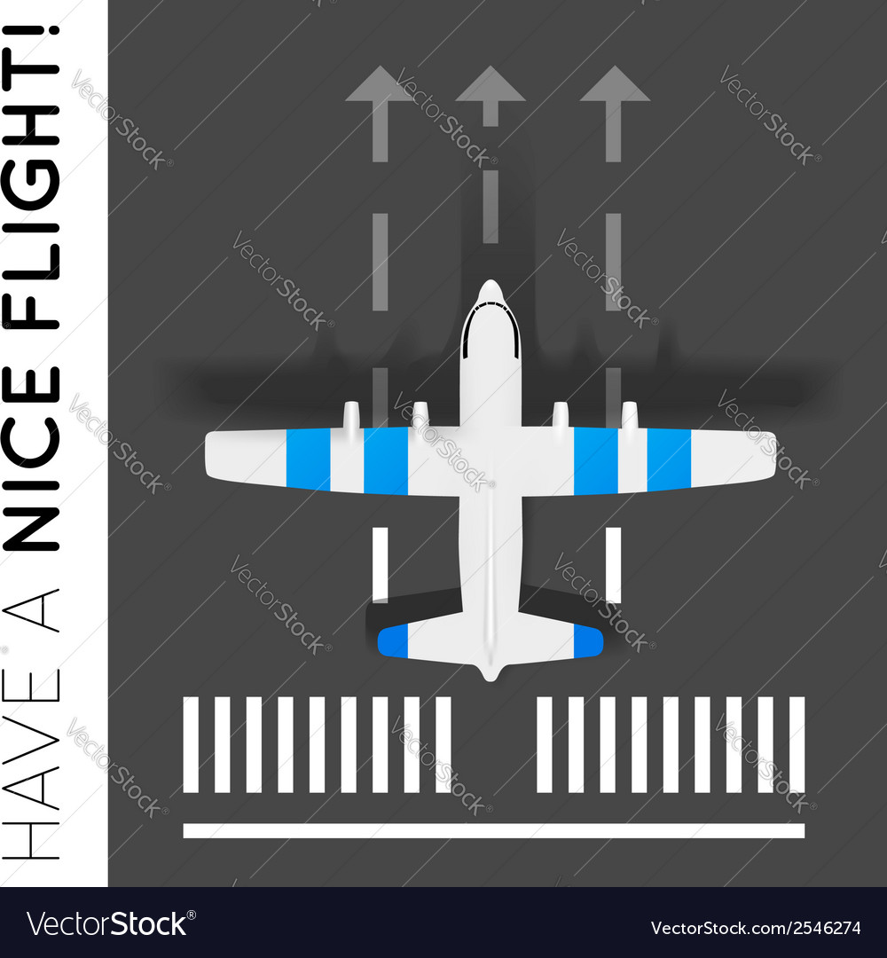 Plane on the runway at the airport top view vector | Price: 1 Credit (USD $1)