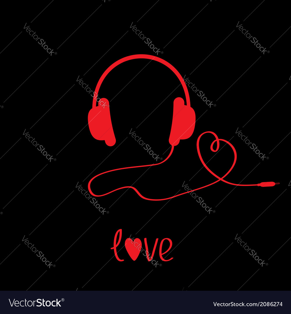 Red headphones with cord black background love vector | Price: 1 Credit (USD $1)