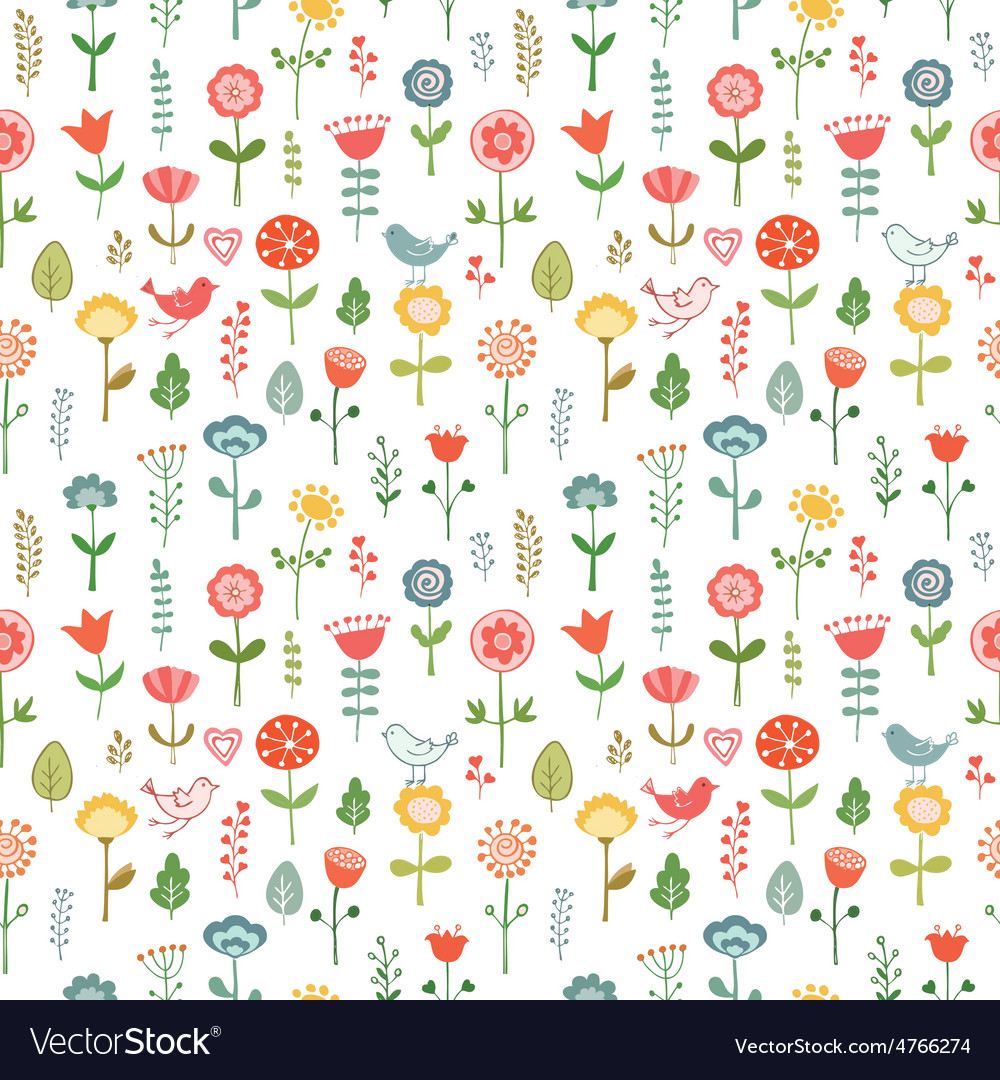 Seamless pattern made of doodle flowers vector | Price: 1 Credit (USD $1)