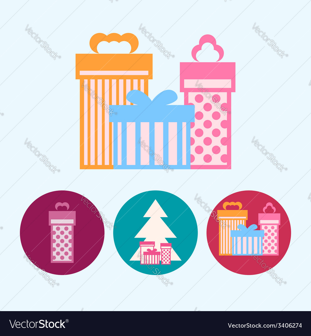 Set icons with gift boxes christmas tree vector | Price: 1 Credit (USD $1)