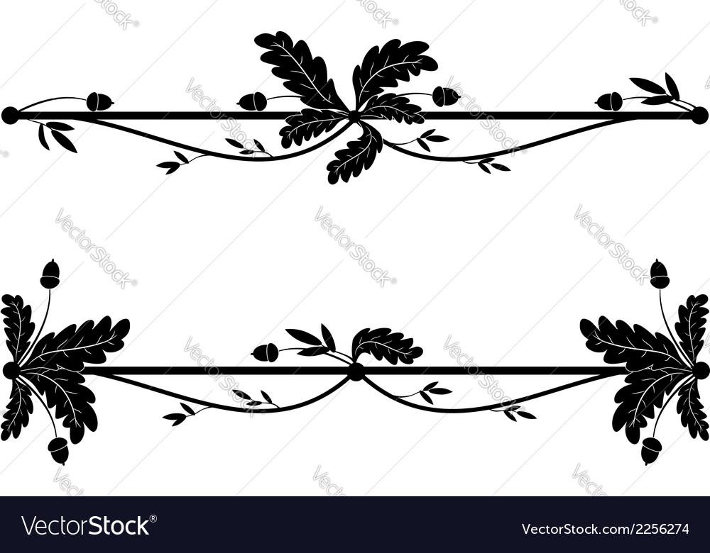 Set oak vignettes vector