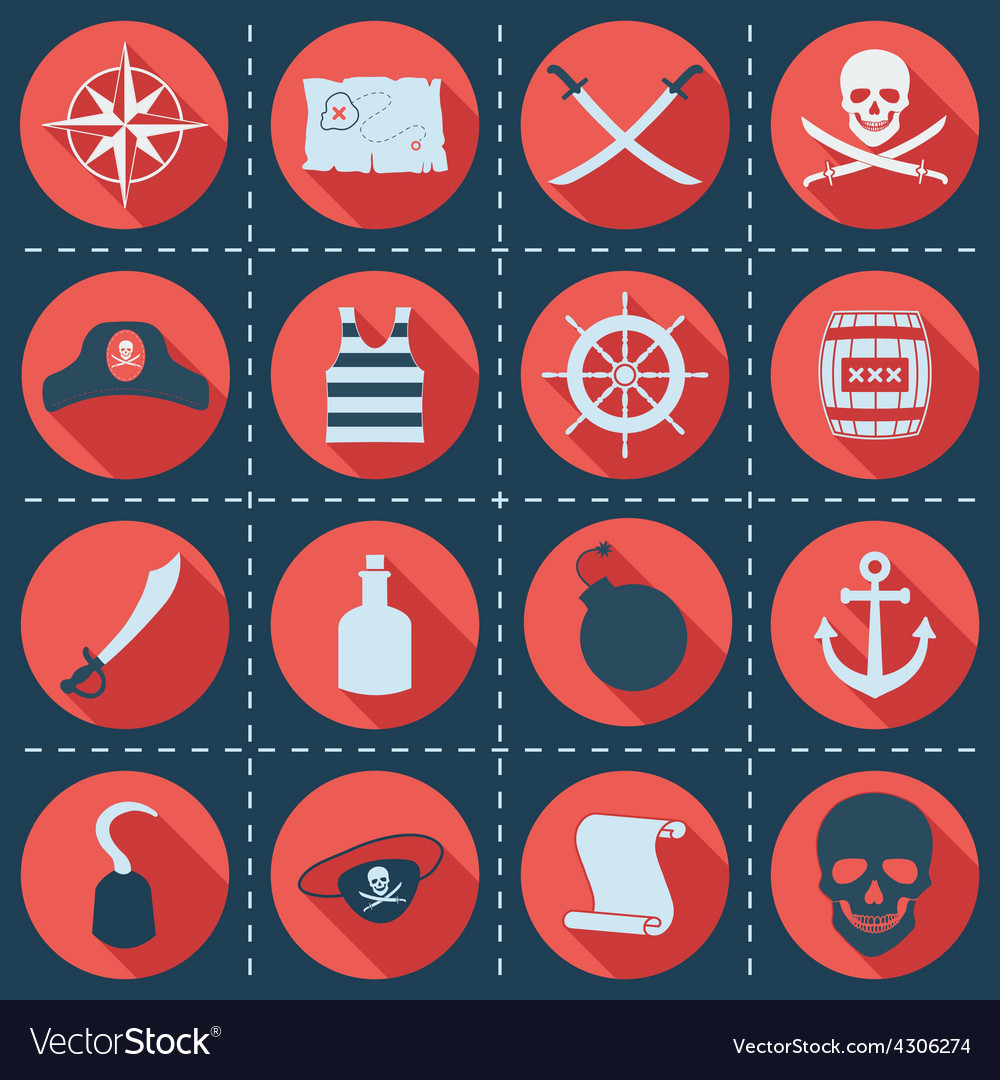 Set of pirate or sea icons vector   Price: 1 Credit (USD $1)