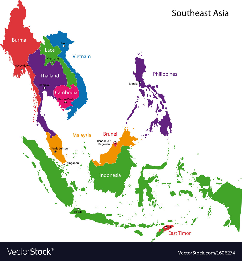 Southeastern asia map vector | Price: 1 Credit (USD $1)