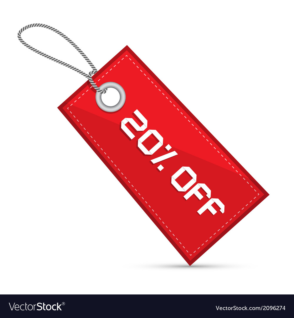 Twenty percent off red discount sale paper label vector | Price: 1 Credit (USD $1)