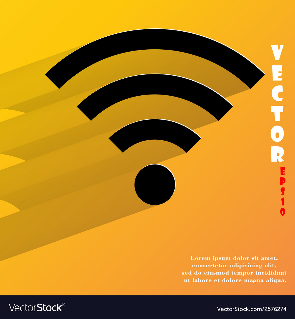 Wi-fi flat modern web button with long shadow and vector | Price: 1 Credit (USD $1)