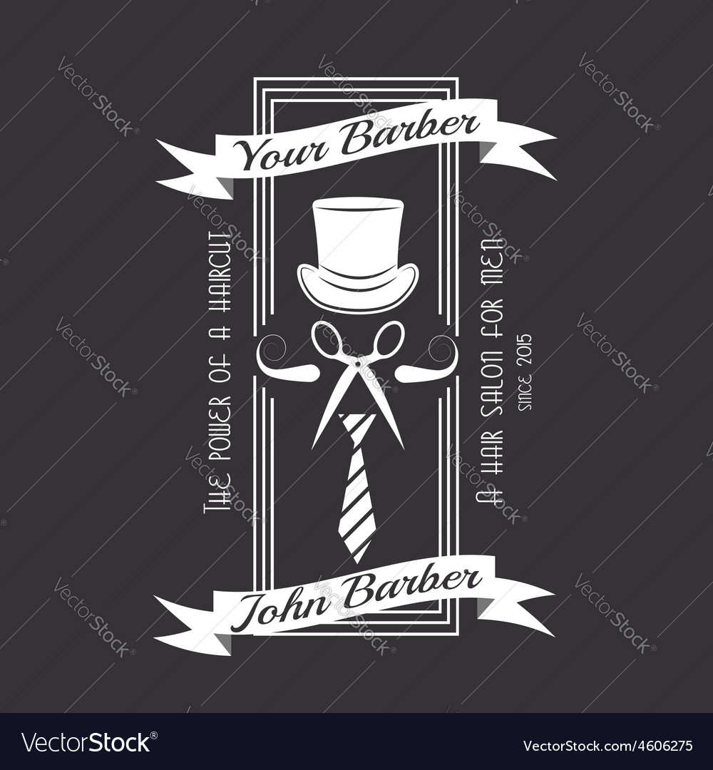 Barber and haircut logo or label design emblem of vector   Price: 1 Credit (USD $1)