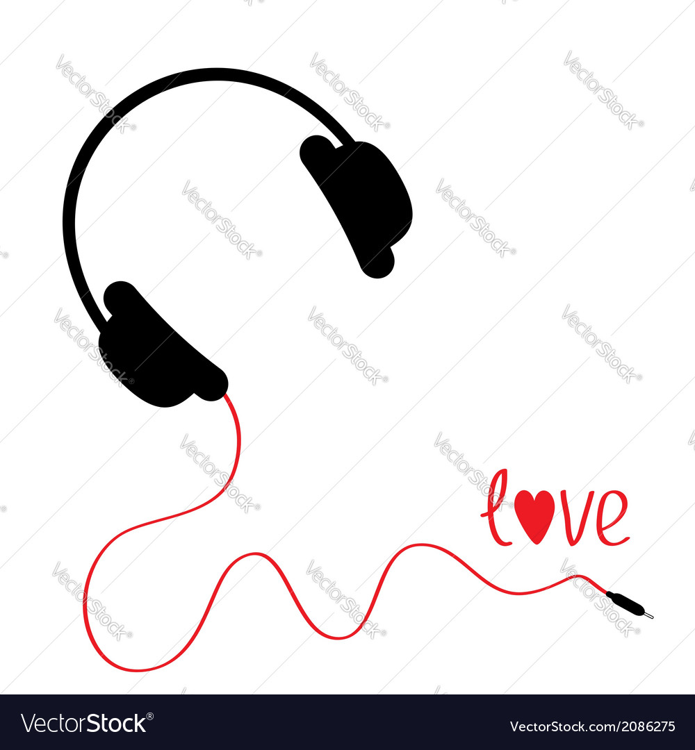 Black headphones with red cord love card vector | Price: 1 Credit (USD $1)