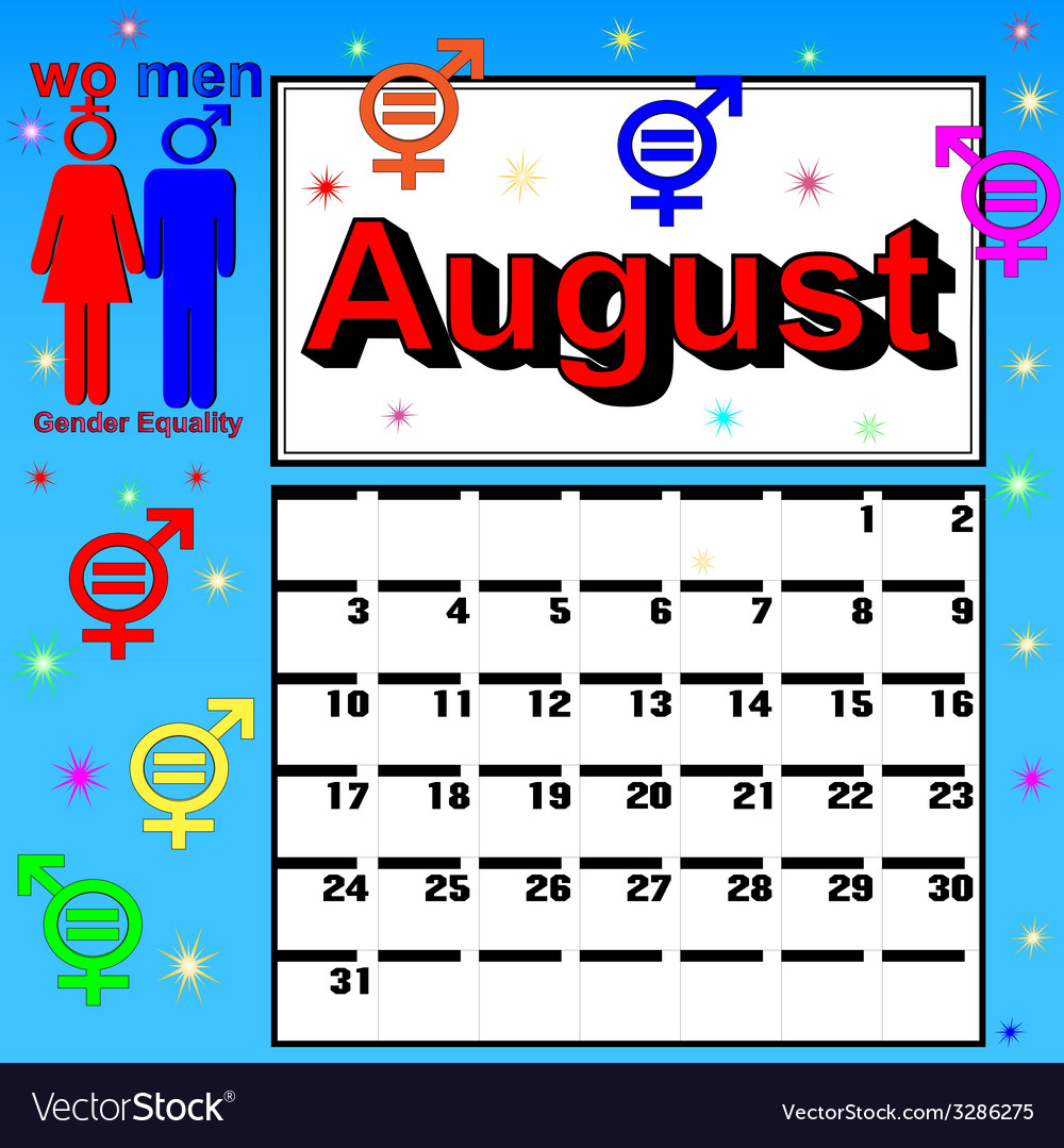 Calendar for august festival womens vector | Price: 1 Credit (USD $1)