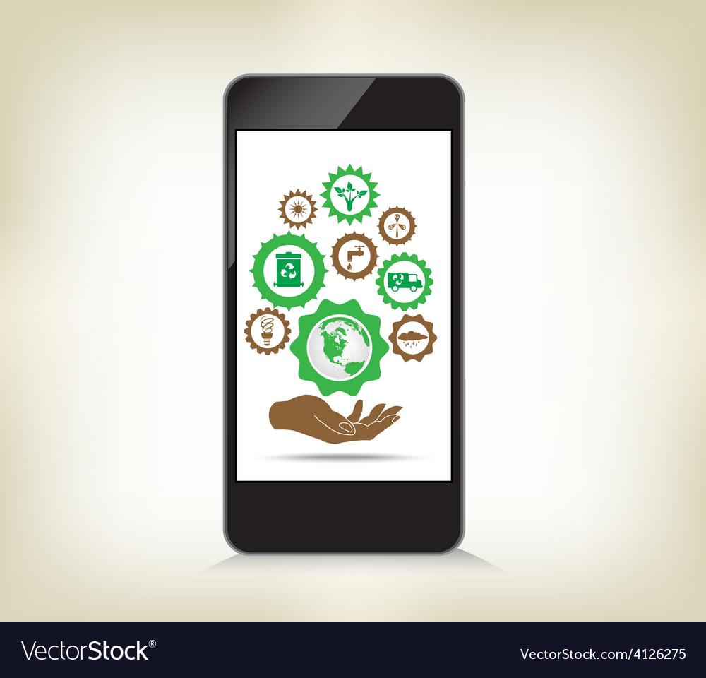 Environment cogwheel template in smart phone vector