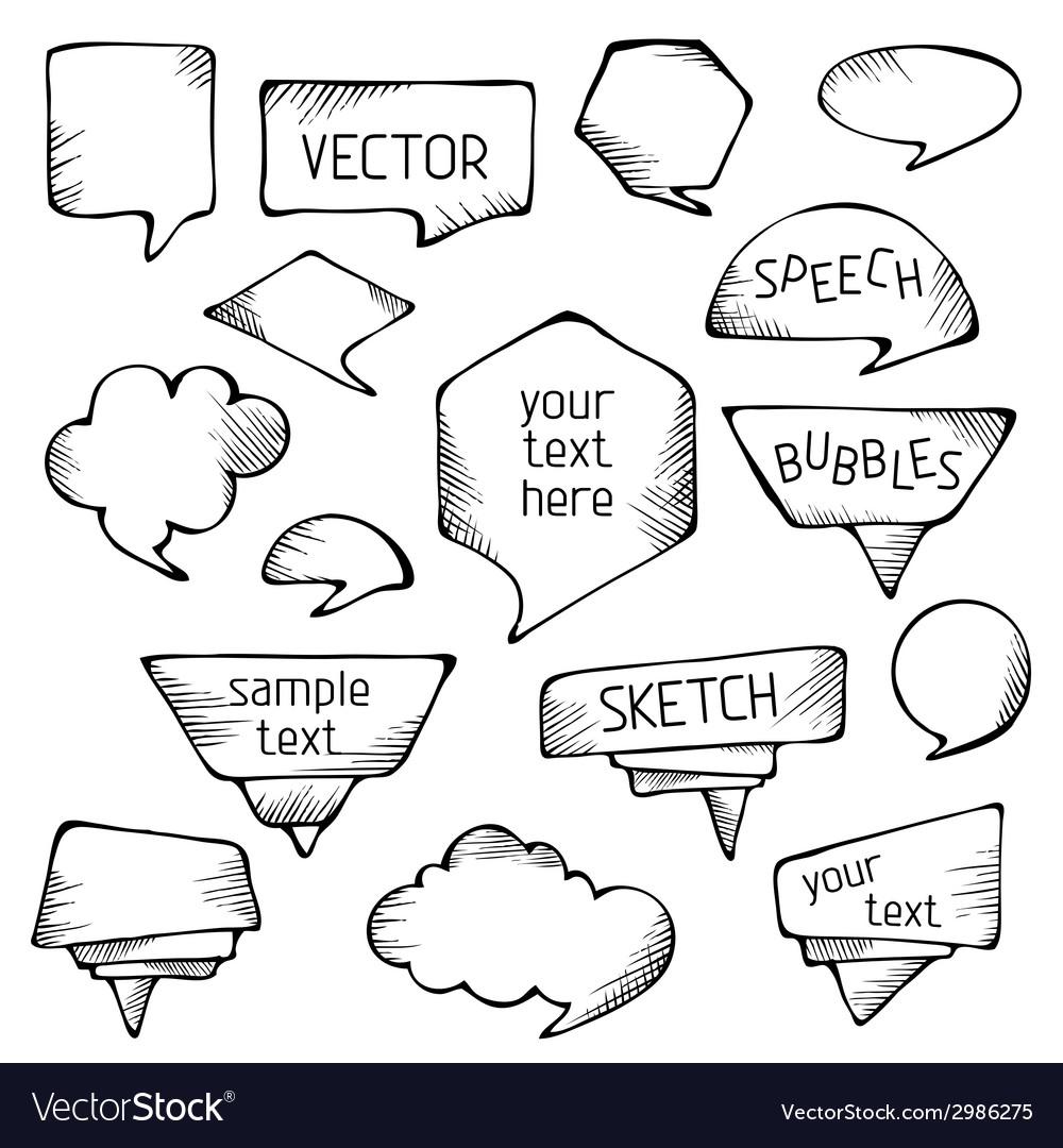 Hand-drawn pencil speech bubbles vector | Price: 1 Credit (USD $1)
