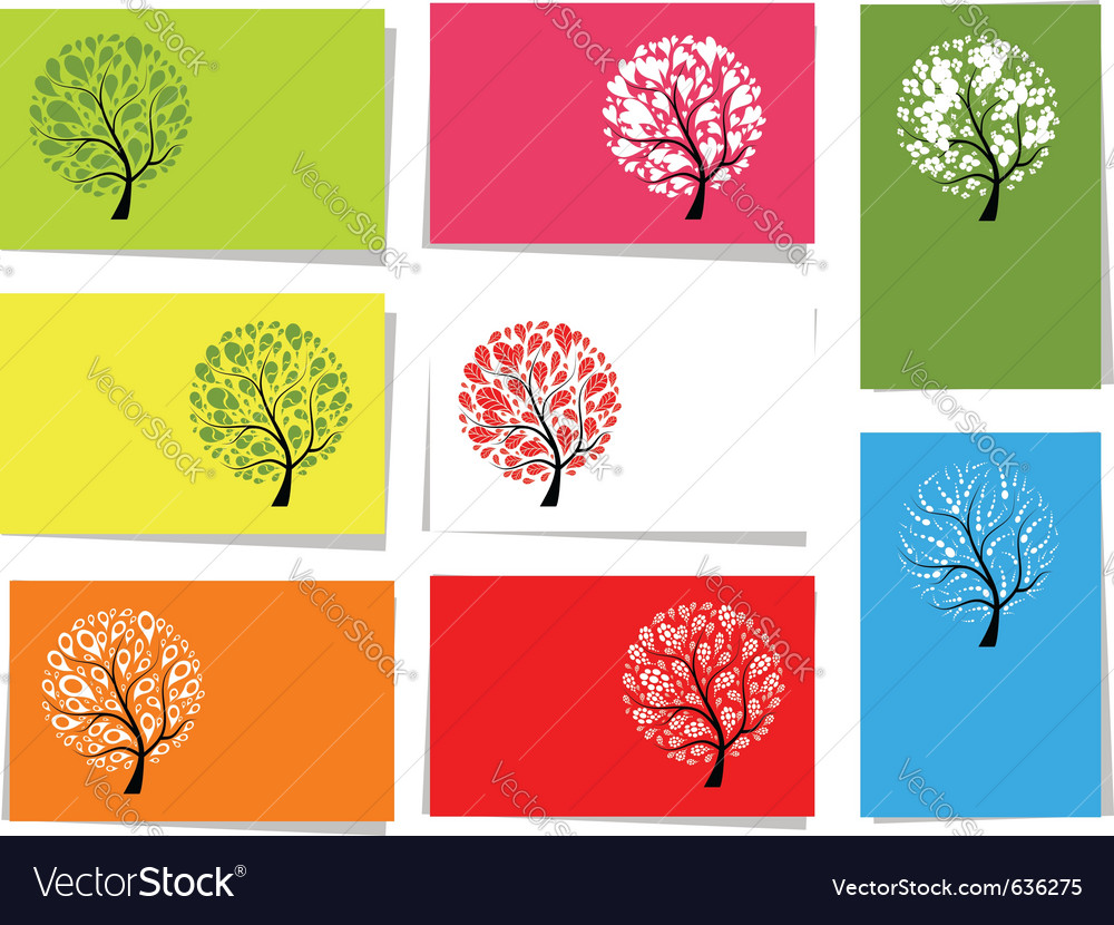 Tree floral cards vector | Price: 1 Credit (USD $1)