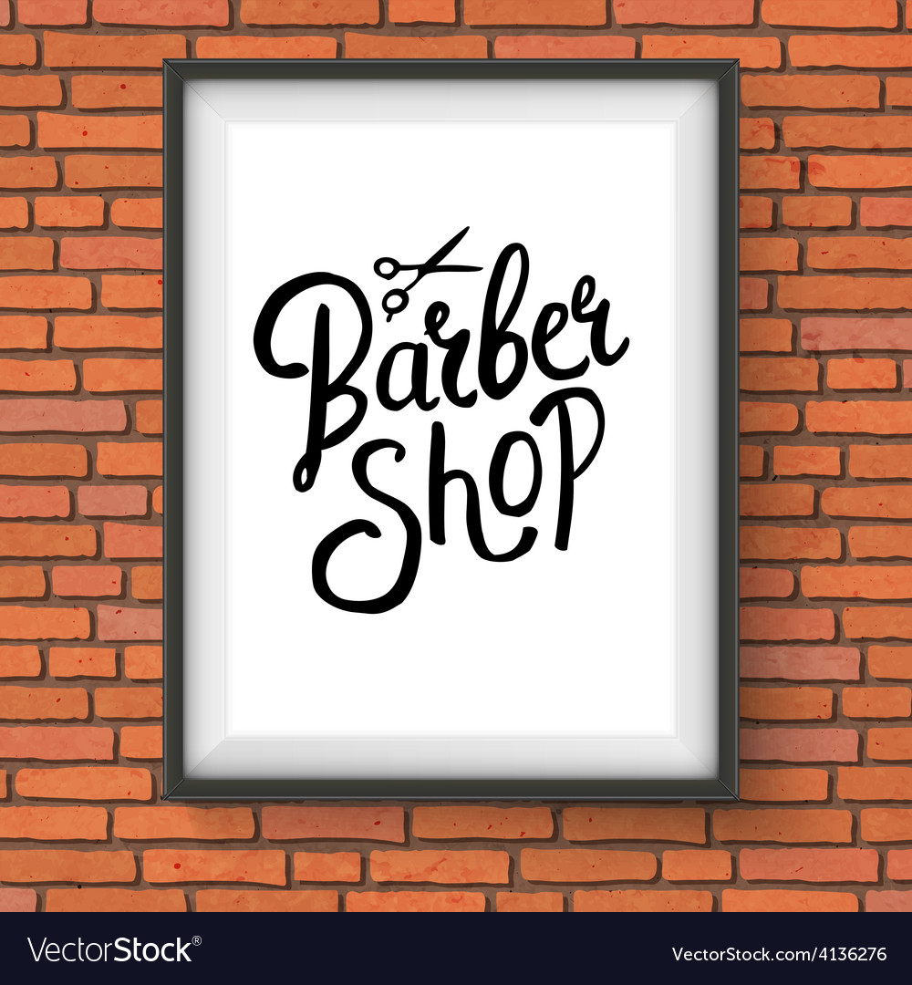 Barber shop sign hanging on red brick wall vector   Price: 1 Credit (USD $1)