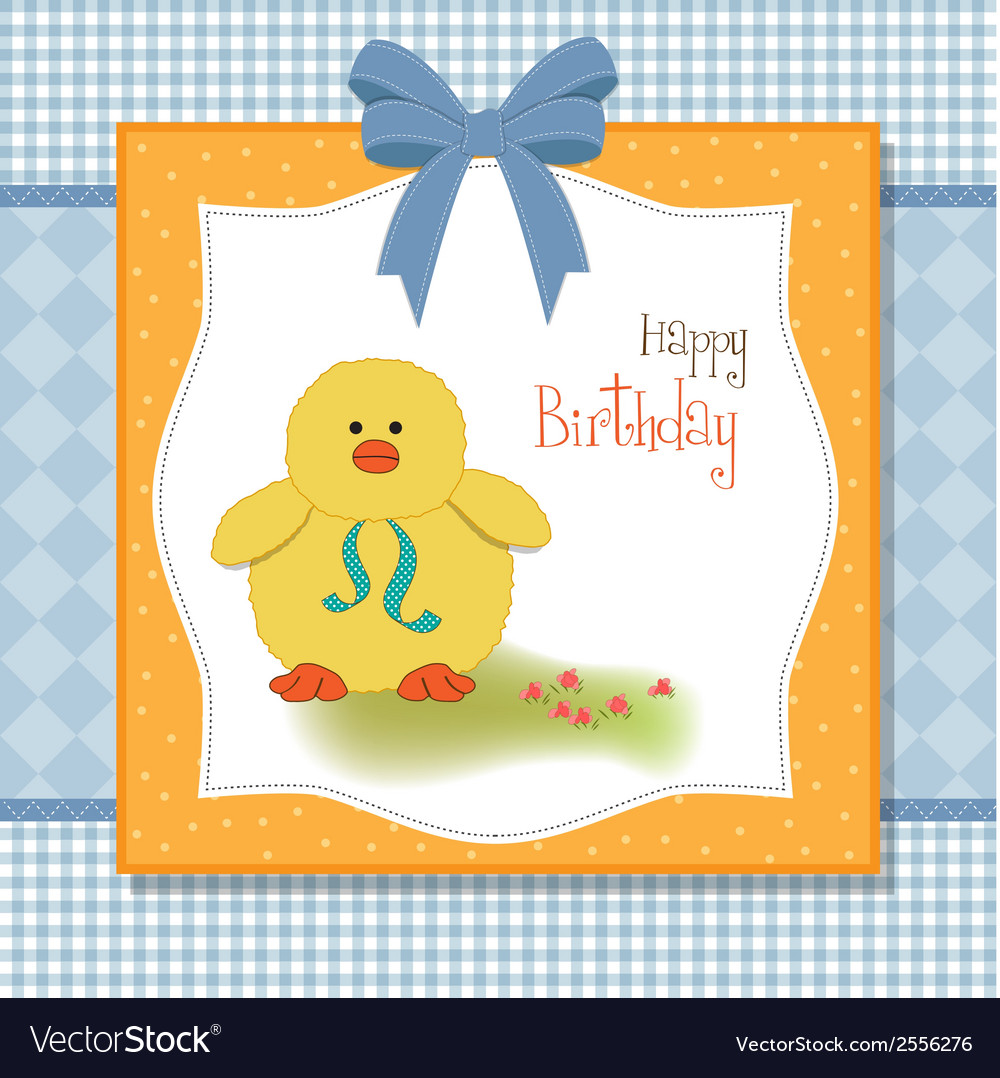 Birthday card with little duck vector | Price: 1 Credit (USD $1)