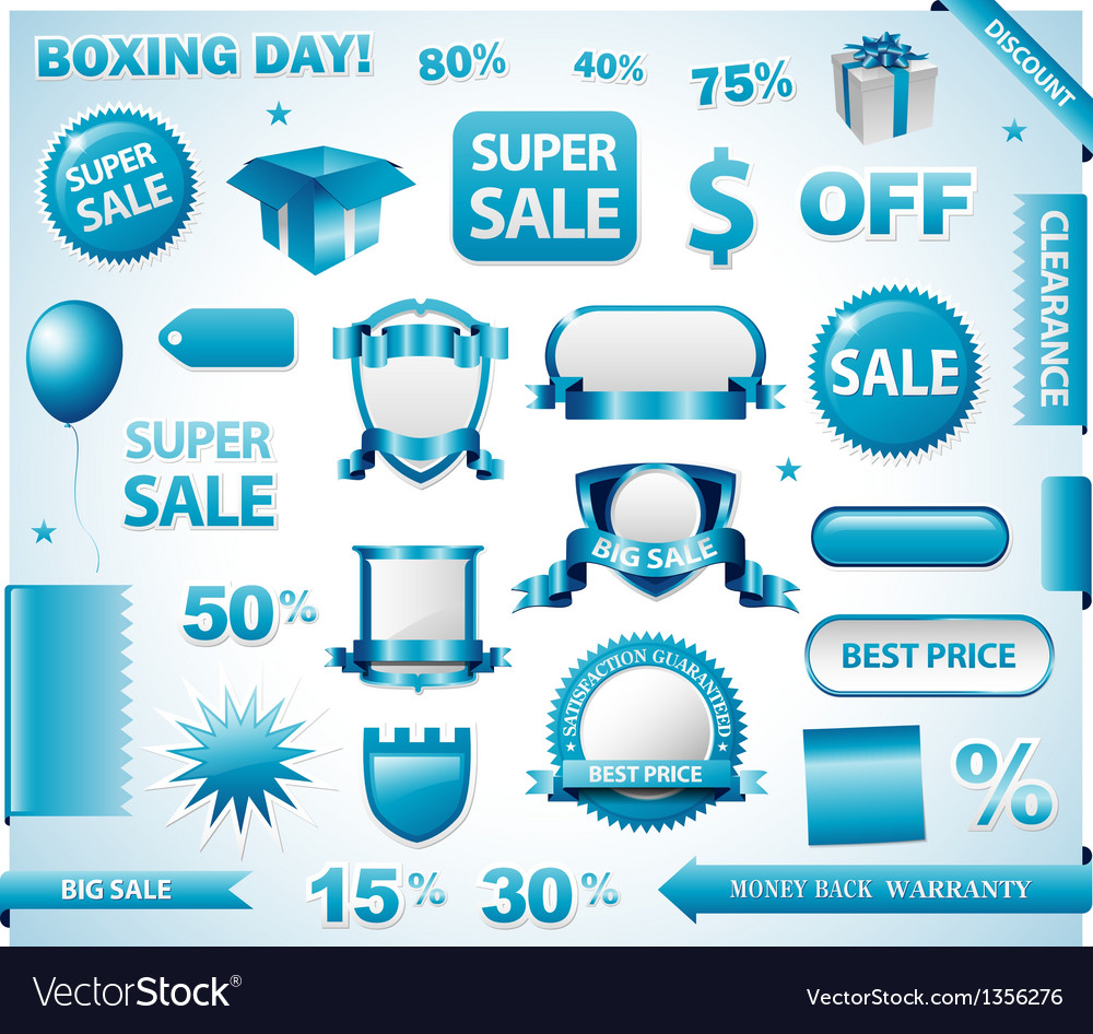 Blue price tags set vector | Price: 1 Credit (USD $1)