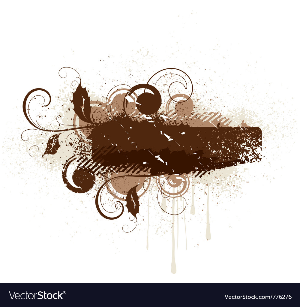 Brown floral grunge banner vector | Price: 1 Credit (USD $1)