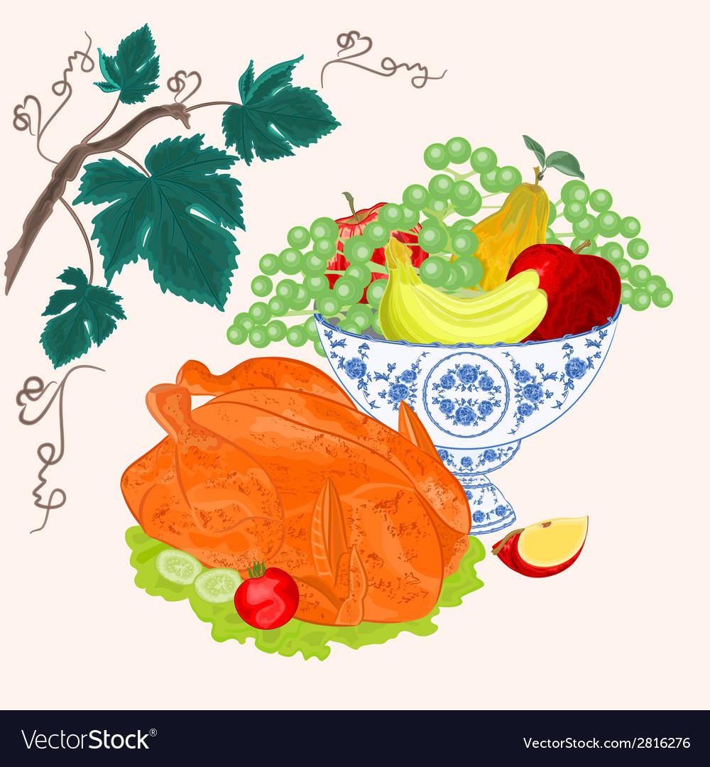 Celebratory food thanksgiving christmas celebratio vector | Price: 1 Credit (USD $1)