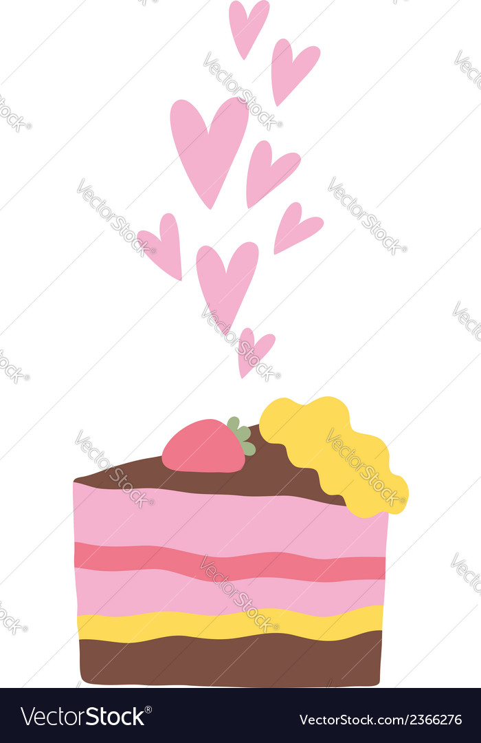 Cute cartoon cake with hearts vector | Price: 1 Credit (USD $1)