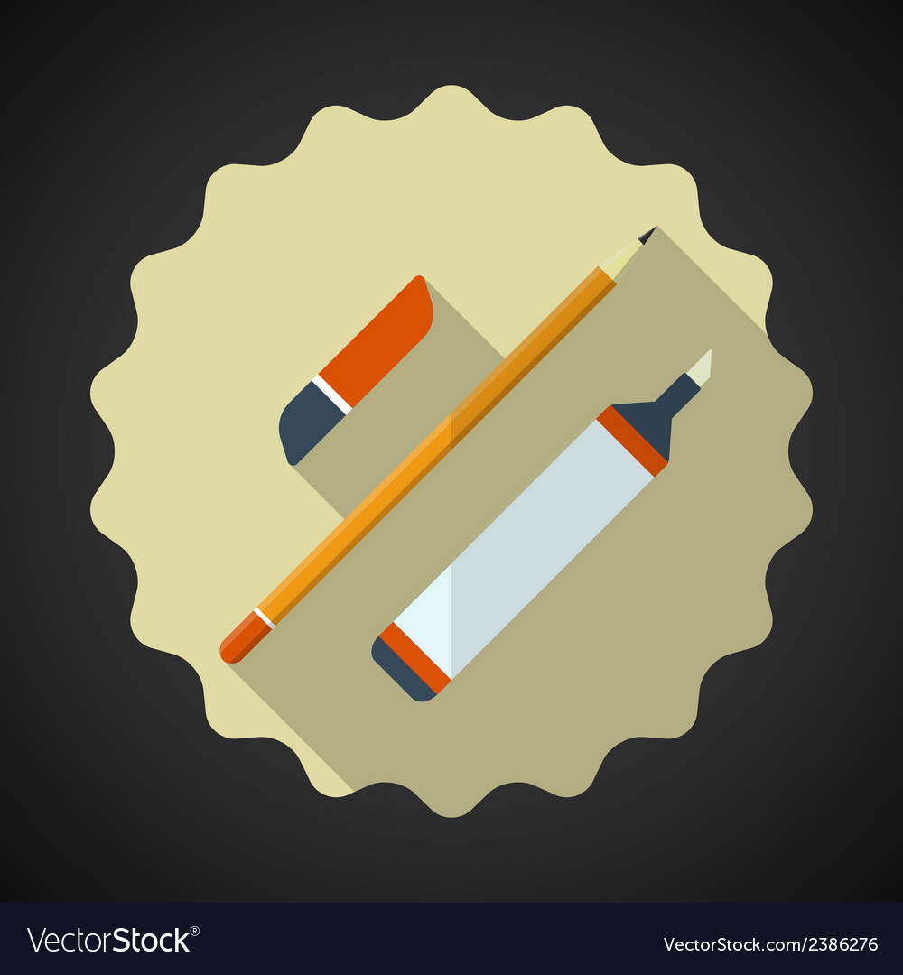 Designer drawing items include pencil eraser vector | Price: 1 Credit (USD $1)
