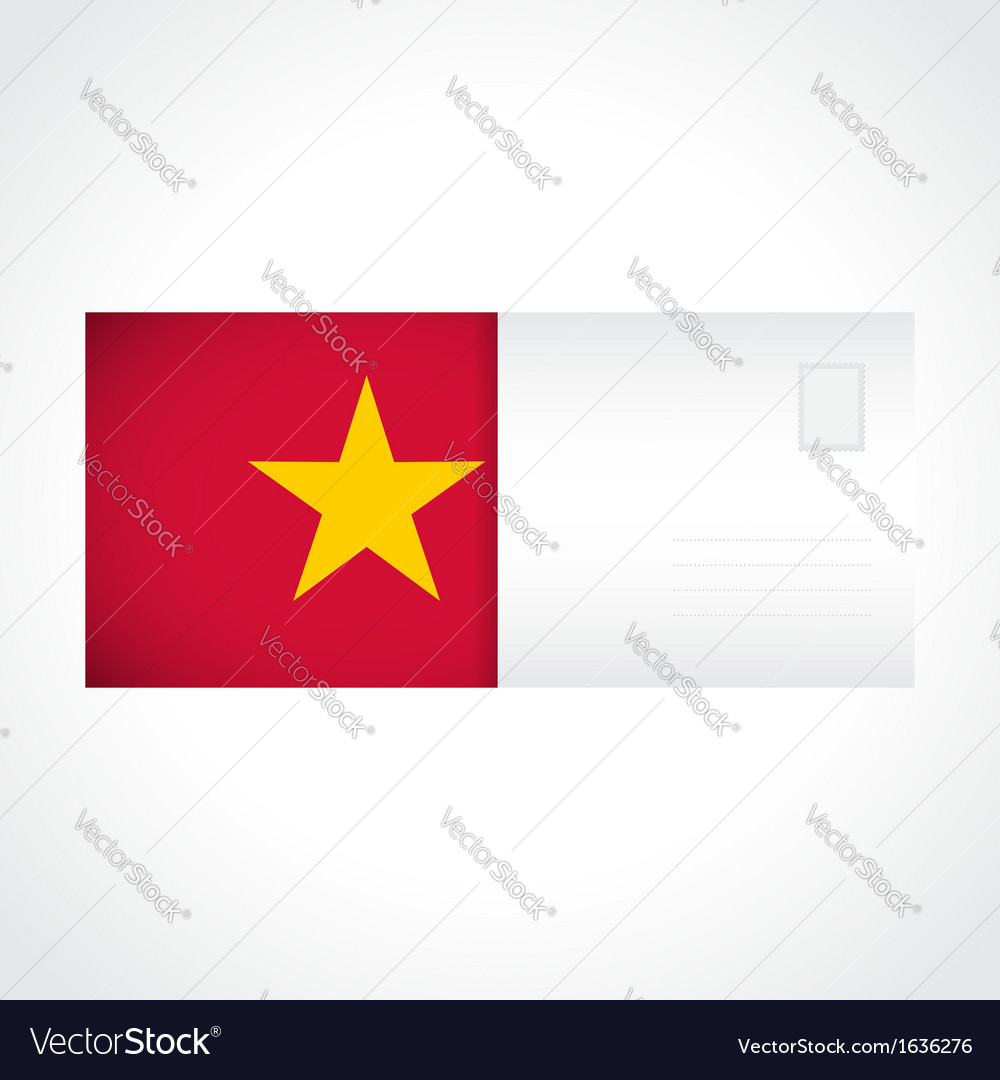 Envelope with vietnamese flag card vector | Price: 1 Credit (USD $1)