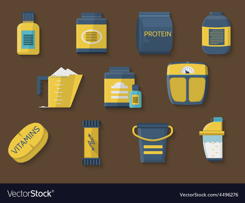 Flat color icons for athlete diet vector | Price: 1 Credit (USD $1)