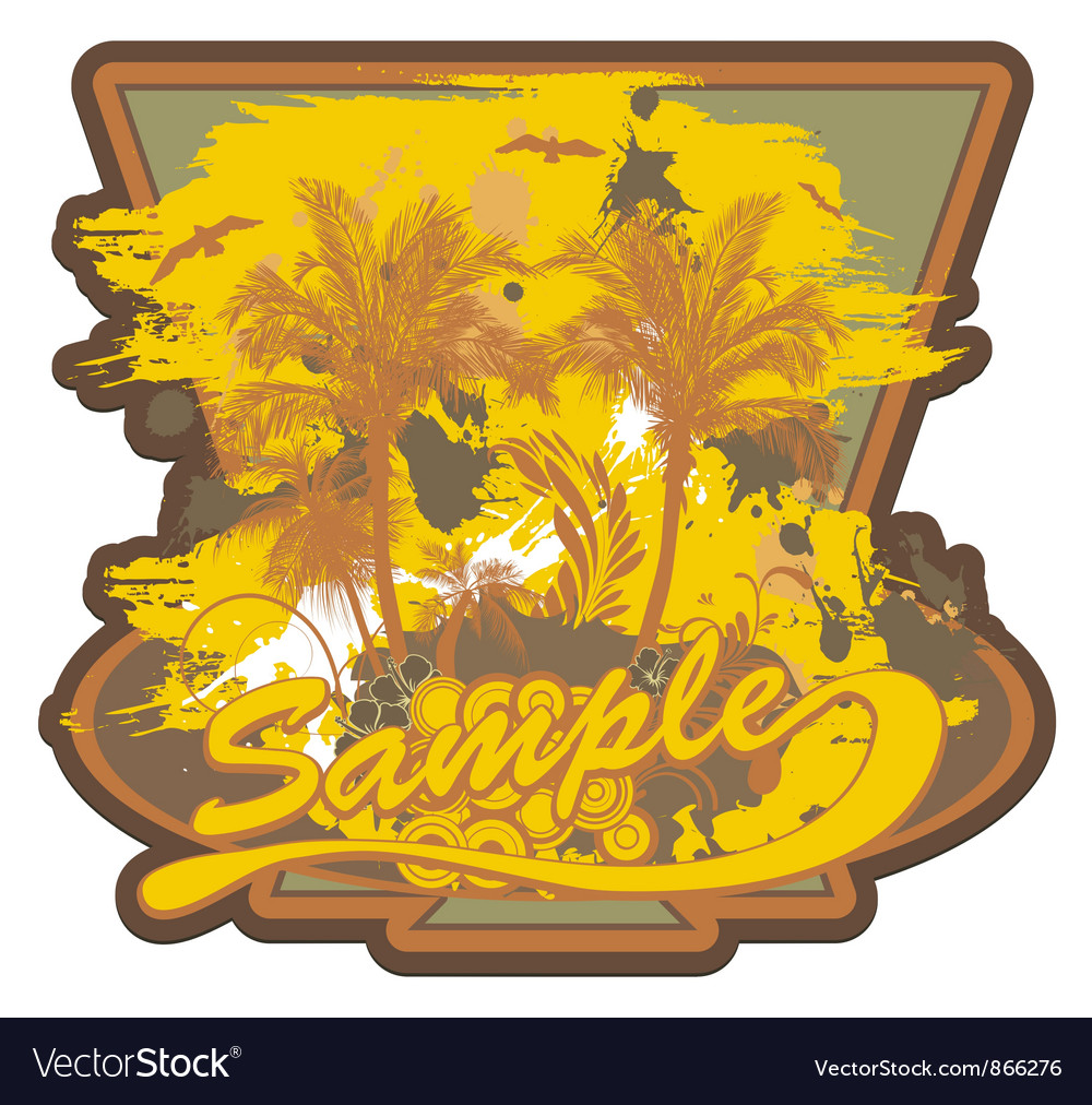 Grunge summer label with palm trees vector | Price: 1 Credit (USD $1)