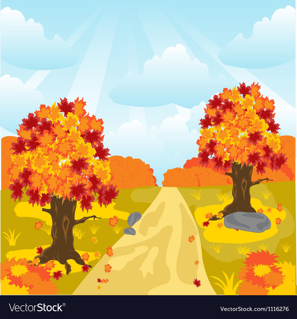 Lane in autumn wood vector | Price: 1 Credit (USD $1)
