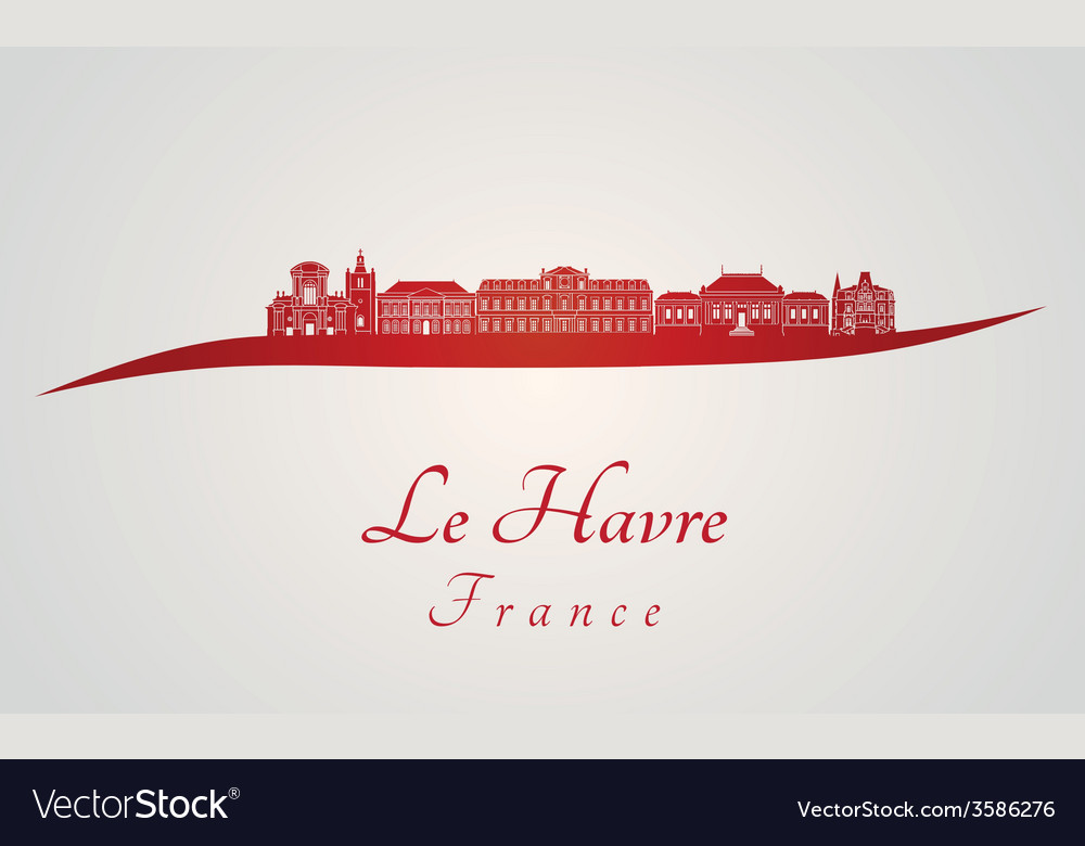 Le havre skyline in red vector | Price: 1 Credit (USD $1)