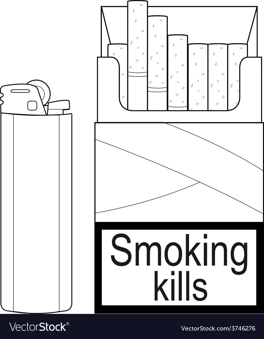 Open cigarettes pack with gas lighter contour vector | Price: 1 Credit (USD $1)