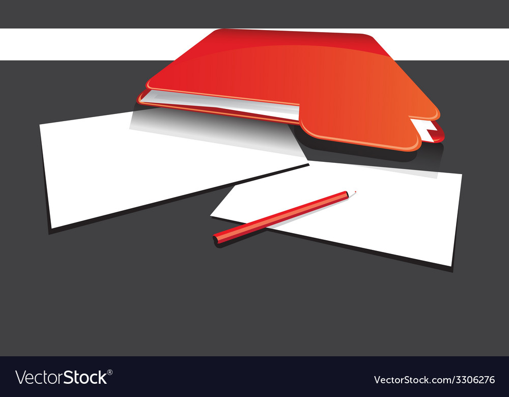Red folder and paper vector | Price: 1 Credit (USD $1)