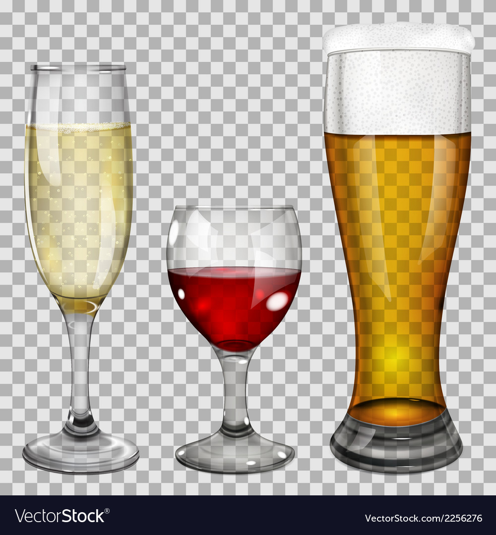 Transparent glass goblets with drinks vector | Price: 1 Credit (USD $1)