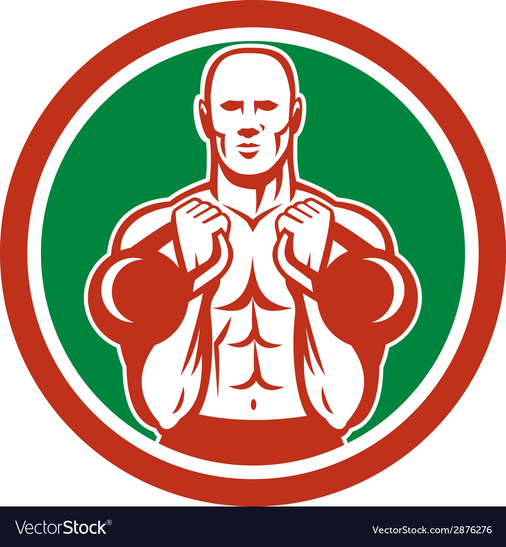 Weightlifter lifting kettlebell circle retro vector | Price: 1 Credit (USD $1)