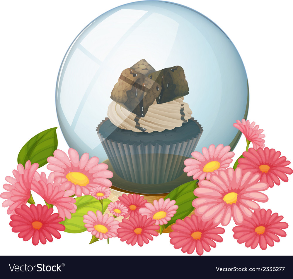 A crystal ball with a chocolate flavored cupcake vector | Price: 1 Credit (USD $1)