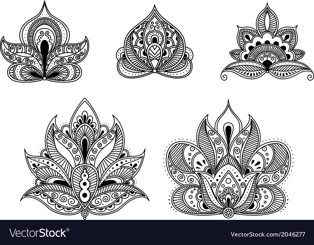 Abstract floral patterns in persian style vector | Price: 1 Credit (USD $1)